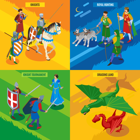 Medieval isometric 2x2 design concept with human characters of cold warriors princess dragons and editable text vector illustration Banque d'images - 109843037