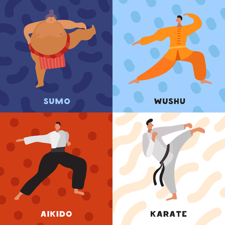 Martial arts flat design concept with fighters in sports uniform during practice isolated vector illustration