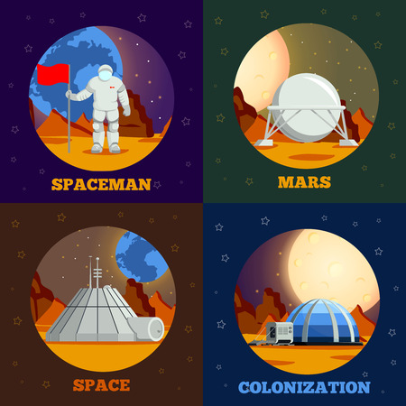 Planet colonization flat design concept with astronaut during space expedition and station on mars isolated vector illustration Archivio Fotografico - 128160341