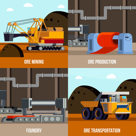Metallurgy flat design concept with ore mining and transportation foundry machinery for steel production isolated vector illustration