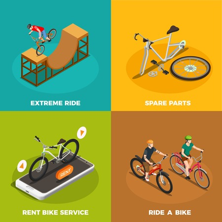 Bicycles isometric design concept with rent bike service spare parts and extreme ride isolated vector illustration