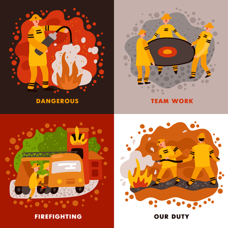 Fire fighting flat design concept dangerous profession team work duty of rescue service isolated vector illustration