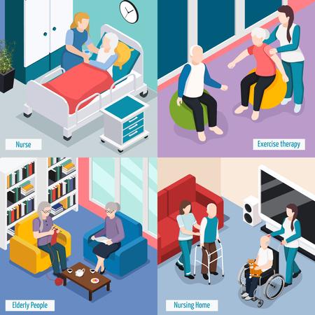 Ouderen verpleeghuis accommodatie concept met bewoners lezen lounge oefentherapie medische zorg geïsoleerde vector illustratie