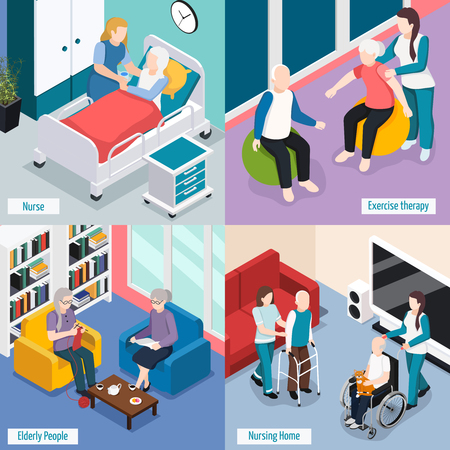 Elderly people nursing home accommodations concept with residents reading lounge exercise therapy medical care isolated vector illustration Illustration