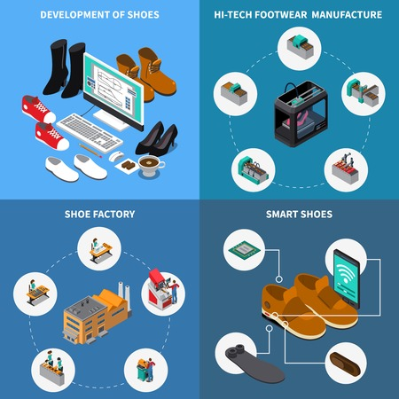 Footwear factory isometric concept icons set with smart shoes symbols isolated vector illustration Ilustrace