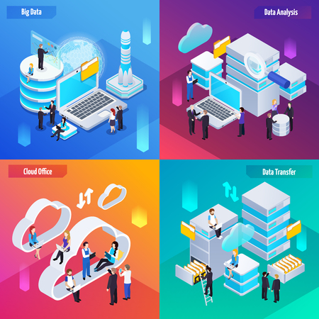 Big data analytics technology concept 4 isometric compositions icons with cloud office transfer analysis symbols vector illustration Illustration