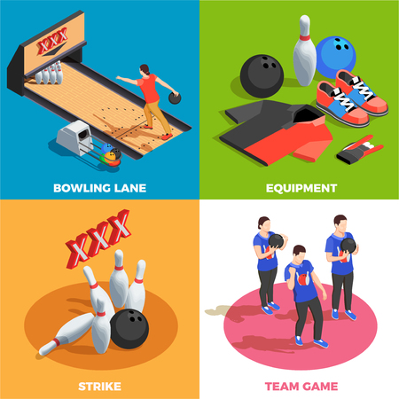 Bowling equipment team of players and game position strike isometric design concept isolated vector illustration