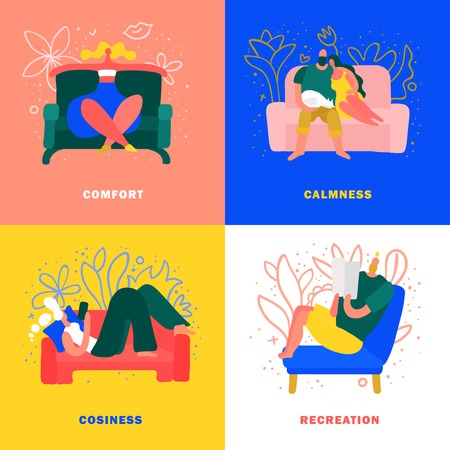 Rest on comfortable furniture at cosy home 2x2 design concept isolated on colorful background flat vector illustration Vektoros illusztráció