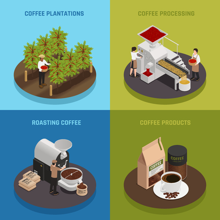 Coffee industry production isometric 2x2 design concept with text captions and image compositions of coffee production vector illustration Illustration