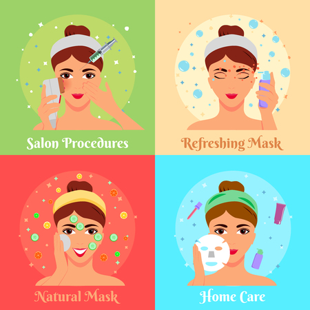 Cosmetic procedures of beauty salon and face care at home flat design concept isolated vector illustration