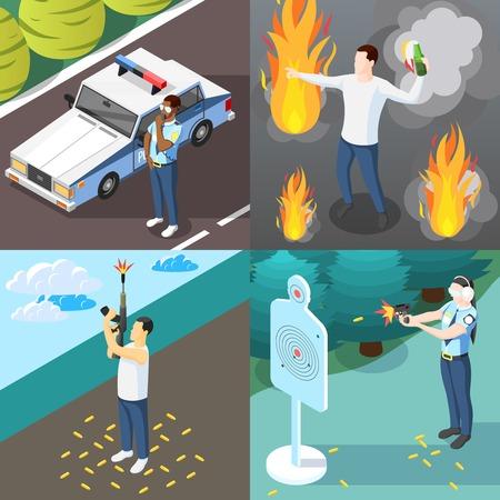 Gangs e polizia 2x2 concept design set di manifestante con bottiglia molotov cocktail e poliziotto che si allena nell'illustrazione isometrica di vettore di tiro al bersaglio Vettoriali