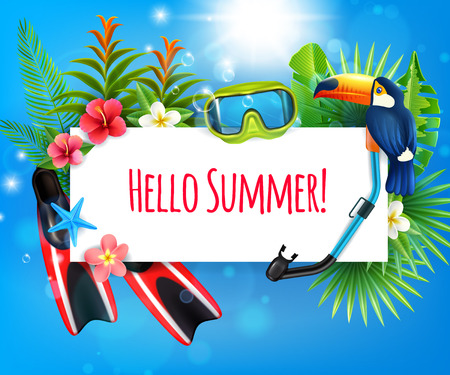Tropical paradise summer vacation realistic composition with flippers snorkel diving mask toucan bird frame invitation vector illustration