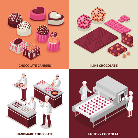 Chocolate manufacture 2x2 design concept with people making chocolate candies manually and on  factory conveyor isometric vector illustration Foto de archivo - 109843172