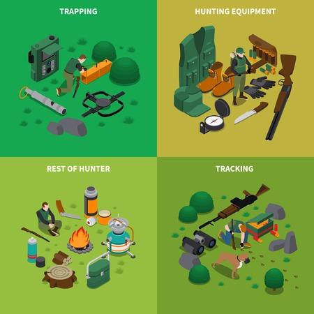 Hunting isometric concept icons set with tracking symbols isolated vector illustration Ilustração