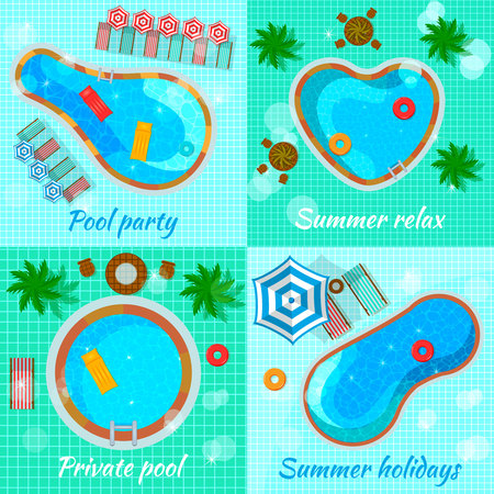 Swimming pools with accessories for various destination top view flat design concept isolated vector illustration