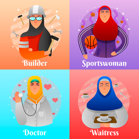 Professions of muslim women flat design concept with builder doctor athlete and waitress isolated vector illustration Illustration