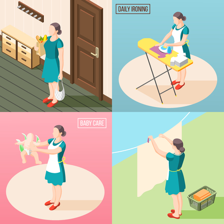 Tortured housewife 2x2 design concept set of routine daily duties so as baby care laundry ironing isometric vector illustration