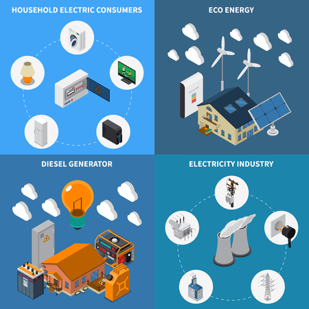 Electricity household consumption supply eco energy and diesel power industrial generators concept 4 isometric compositions vector illustration Illustration