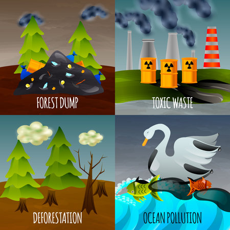 Ecological problems flat design concept with toxic waste garbage dumps deforestation and ocean pollution isolated vector illustration Banque d'images - 109843174