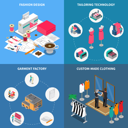 Clothes factory isometric concept icons set with garment symbols isolated vector illustration