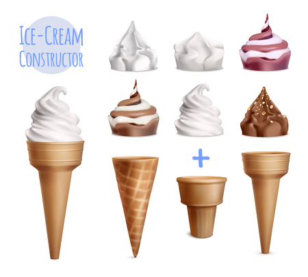 Ice cream realistic constructor set of various toppings with sugar cones of different shape and text vector illustration
