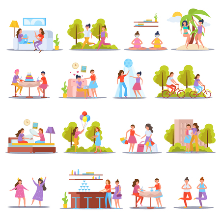 Girls friendship orthogonal icons set with home slumber and birthday parties vacation sporting together isolated vector illustration Stock Vector - 109843177