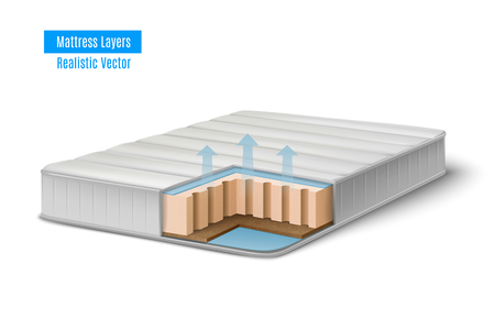 Mattress realistic cutout scheme composition with profile view of bat stuffing inside the mattress with text vector illustration