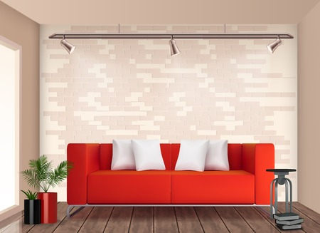 Small room stylish interior design with red sofa and flower pot brighten up neutral walls realistic vector illustration Çizim