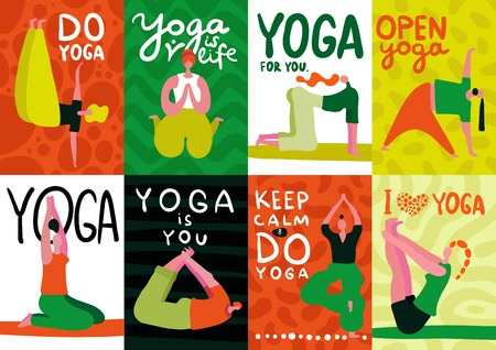 People doing yoga flat design cards set isolated on colorful background vector illustration