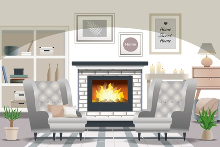 Hygge stile living room interior composition with fireplace cozy armchairs candles pillows wall decoration flat vector illustration