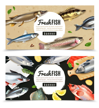 Saltwater and river fishes for cooking with spices set of horizontal banners isolated vector illustration