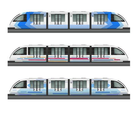 Mockup realista de tren de tranvía de pasajeros con vista lateral de tres trenes metropolitanos con varias ilustraciones vectoriales de librea para colorear