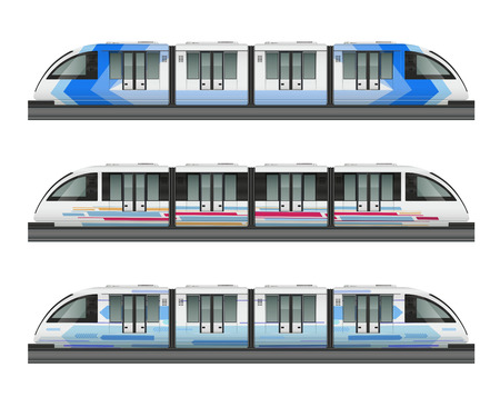 Passenger tram train realistic mockup with side view of three metropolitan trains with various coloring livery vector illustration