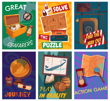 Quest game reality cards set, solving puzzle, find way out, journey, great seafarers isolated vector illustration 向量圖像