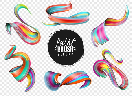Set of realistic colorful paint brush strokes isolated on transparent background vector illustration