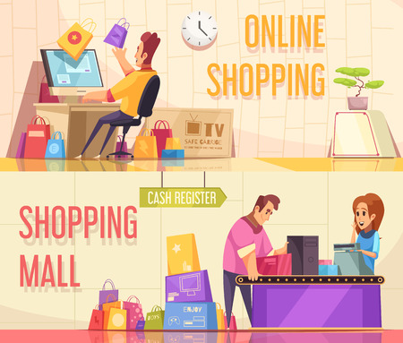 Set of two horizontal shopaholic banners with cartoon compositions of people characters and goods with text vector illustration