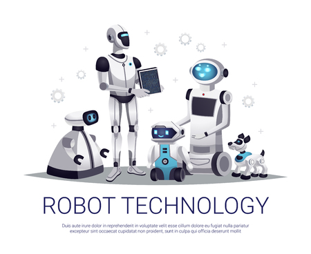 Next generation robots future technology flat composition with humanoid automated helpers and remote controlled pets vector illustration