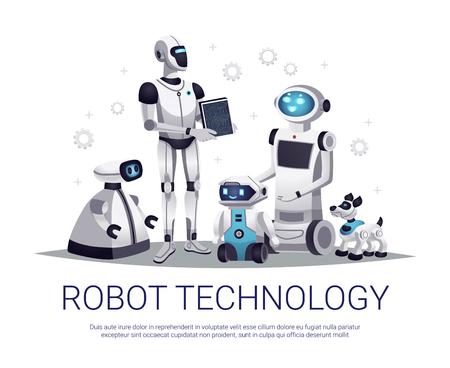 Robot di prossima generazione tecnologia futura composizione piatta con aiutanti automatizzati umanoidi e illustrazione di vettore di animali domestici telecomandati