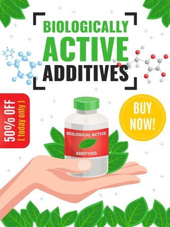 Biological active additives advertising poster with 50 percent off offer and green leaves framing cartoon vector illustration Illustration