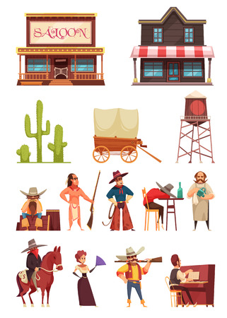 Cowboy wild west set with isolated icons of historic buildings and human characters in various situations vector illustration Illustration