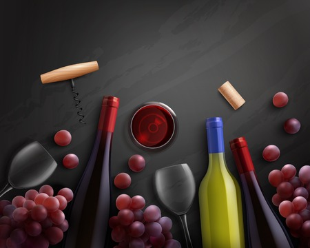 Wine realistic composition with red and white wine and grapes vector illustration 向量圖像