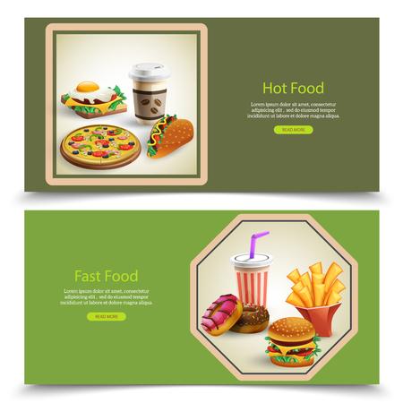 Karikatursatz von zwei horizontalen Fahnen mit Fastfood und Getränken auf grünem Hintergrund lokalisierte Vektorillustration