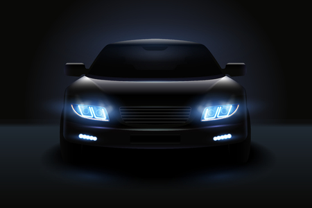 Car led lights realistic composition with dark silhouette of automobile with dimmed headlights and shadows vector illustration