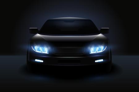 Composición realista de luces led de coche con silueta oscura de automóvil con faros atenuados y sombras ilustración vectorial