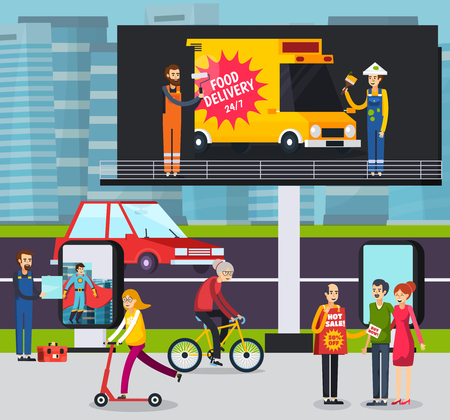 Advertising agency workers placing ad poster on large outdoor billboard in busy city street orthogonal vector illustration