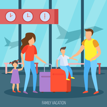 Family vacation travel orthogonal background poster with father mother children and luggage in airport hall vector illustration