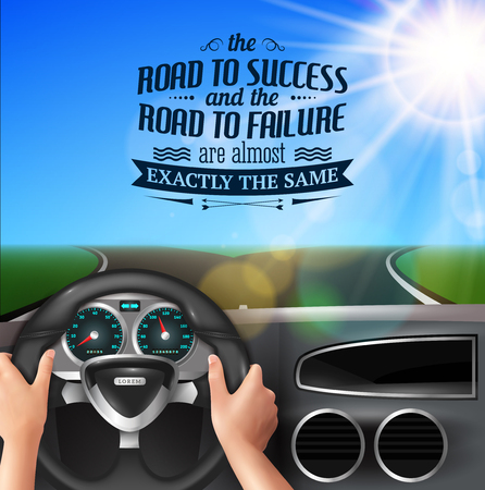 Road to success quotes with failure and happiness symbols realistic vector illustration Archivio Fotografico - 128160373