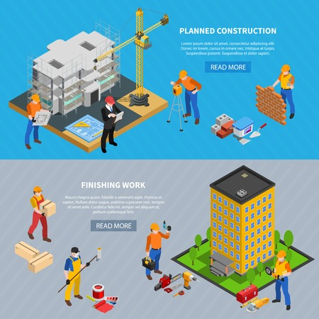 Construction isometric set of two horizontal banners with building images editable text and read more button vector illustration Иллюстрация
