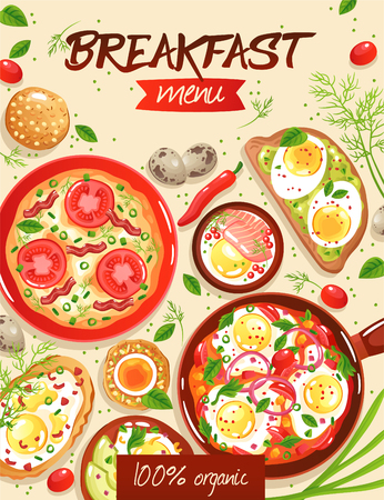Breakfast menu template with various egg dishes on beige background flat vector illustration Ilustrace