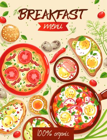 Modello del menu della colazione con vari piatti a base di uova su fondo beige piatto illustrazione vettoriale Vettoriali